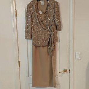 Gorgeous Chadwick's tan gown w/ jacket. SZ 12